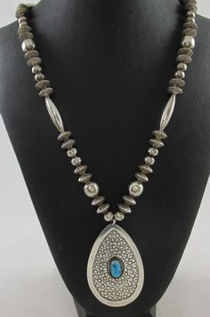 OUTSTANDING VINTAGE ANSON JOE NAVAJO STERLING SILVER TURQUOISE PENDANT NECKLACE