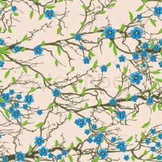 Seamless background pattern tree flower blossom. Vector nature illustration.