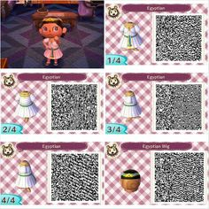 Egyptian design by Peanut Fashions for Animal Crossing New Leaf QR codes.  Visit peanutfashions.tumblr.com for full resolution codes.