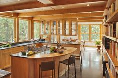 Home on Pemaquid Pond by Briburn - Warm sustainable home using many natural materials expressed in modern ways located in Bremen, Maine.