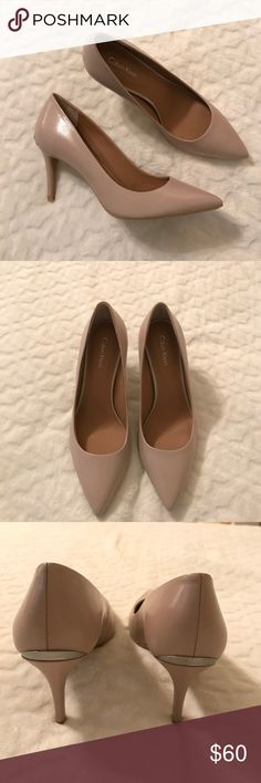 """Calvin Klein Gayle Nude Pumps NO tags or box  Nude Width B(M) Leather Upper Material Man-Made Outsole Material Pointed Toe Toe Type 3.5"""" Heel Height Calvin Klein Shoes Heels"""