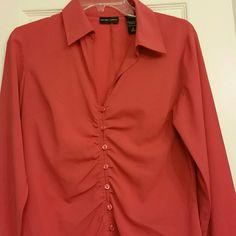 Orange long sleeve top Long sleeve dress top, 3%spandex New York & Company Tops