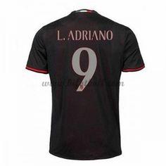 Billiga Fotbollströjor AC Milan 2016-17 L. Adriano 9 Kortärmad Hemmatröja
