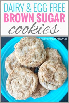 Dairy and egg free brown sugar cookies just take basic pantry ingredients and are super tasty. Recipe at Milk Allergy Mom! Dairy Free Baking, Recipe For Mom, Tasty Recipe, Brown Sugar Cookies, Dairy Free Cookies, Milk Allergy, Supper Recipes, Egg Free, Food Allergies