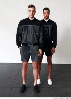 Designer Carlos Campos explores a new arena for his man with spring 2015. Leaning away from the tailored formalities that usually define his collections, Campos embraces a sporty edge that brings to minds images of racetracks and utilitarian fashions. Utilizing color blocking and strong graphic lines, the new collection injects menswear classics with a sporty aesthetic that is easily on trend for the season.
