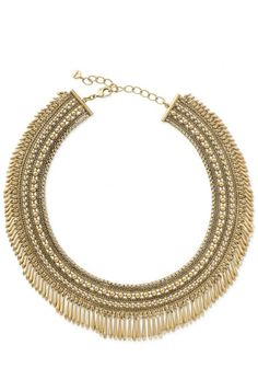 This one is a stunner on! A little edge and a lot of glam! Tansy Gold Fringe Collar Necklace by Stella & Dot