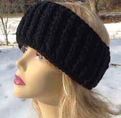 Black Cable Crochet Ear Warmer, Headband on Etsy, $24.00