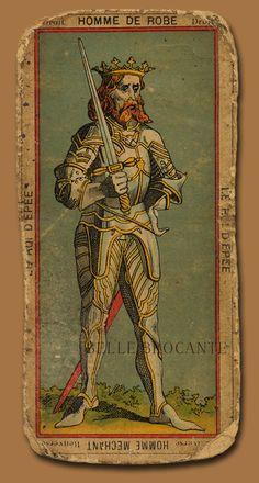 50 - King of Swords Etteilla tarot card Vintage Tarot Cards, King Of Swords, Inktober, Tarot Learning, Art Graphique, Skateboard Art, Oracle Cards, Tarot Decks, Aesthetic Art