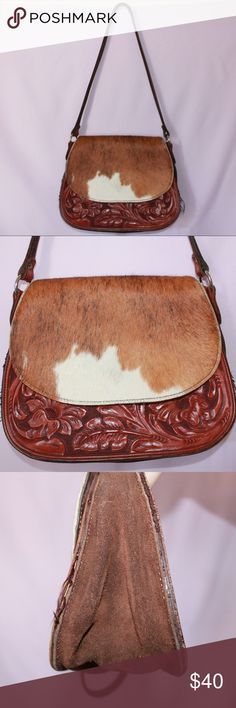 """Vintage """"Cowhide"""" Purse! Take a look at this adorable cowhide purse! This baby is made out of leather, suede and has a front flap cowhide! It's in great condition, does have some wear and loose threads! It's not exactly a cross body, I'm about 5'6 and it hits me at my hip! Vintage Bags Shoulder Bags"""