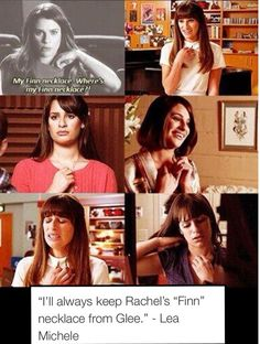 Lea Michele on the Finn necklace.❤ - Lea Michele on the Finn necklace…❤ - Glee Memes, Glee Quotes, Tv Show Quotes, Scandal Quotes, Scandal Abc, Rachel And Finn, Lea And Cory, Best Tv Shows, Best Shows Ever