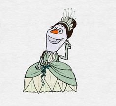 The newest I'm my Olaf as Disney princesses collection! Olaf as Tiana Elf Drawings, Cute Disney Drawings, Disney Sketches, Cartoon Drawings, Cool Drawings, Disney Olaf, Disney Jokes, Disney Art, Olaf Funny