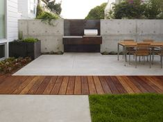 San Francisco Dining Terrace - modern - patio - san francisco - by Christopher Yates Landscape Architecture- large concrete slabs interspersed w wooden slates