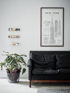 sofa de couro preto
