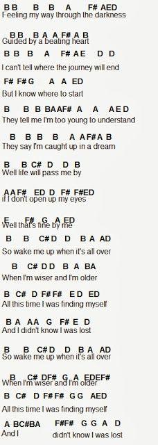 Flute Sheet Music  wake me up part 1