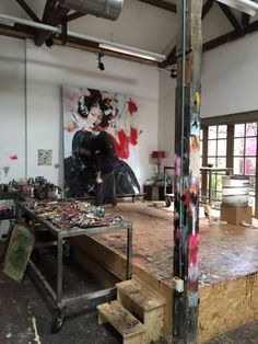 """Artist Studio - Previously pinned """"I'm trying finish this painting and the question is: Is it a Geisha or a Menina? Studio Apartment Design, Art Studio Design, Art Studio At Home, Atelier Creation, Atelier D Art, Deco Studio, Studio Room, Studio Spaces, Art Spaces"""