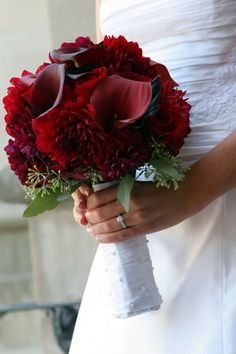"""pretty dark red bouquet. tags: """"just bloomed florals"""" bridal bouquet hand held ribbon wrap dahlia calla lily roses red flowers, but i want red daisies with the calla lillies"""
