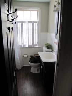 Before & After DIY bathroom redo! I love the plantation shutters! You can close for privacy but above is still open to sunshine :)