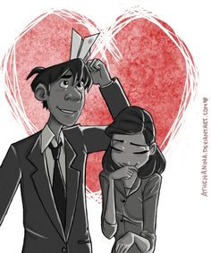 "Looks like the Paperman met his ""PaperMate\"" XD Sorry. I drew fan art from the Disney short \""Paperman\"". Disney Fan Art, Disney Style, Disney Love, Disney Magic, Pixar Shorts, Disney Shorts, Disney Animation, Disney And Dreamworks, Disney Pixar"