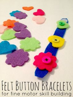 Fine Motor Skill Building Craft | Felt Button Bracelets. Visit pinterest.com/arktherapeutic for more #finemotor activity ideas