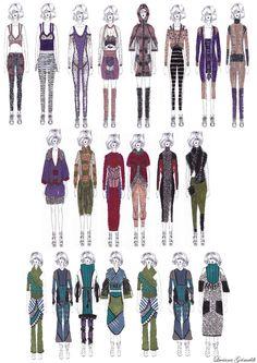 Fashion Portfolio - fashion design drawings; colourful knitwear lineup; fashion illustration; fashion sketchbook // Luciana Grimaldi