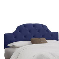 Skyline Custom Upholstered Curved Tufted Headboard - Queen, Velvet Navy
