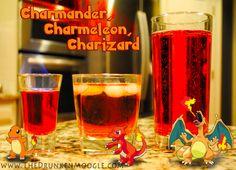 Charmander, Charmeleon, Charizard (Pokemon Cocktails) Ingedients: Charmander- 1 splash of grenadine 1 oz Fireball Cinnamon Whiskey oz Bacardi 151 Charmeleon- 1 spash of grenadine, 1 splash of scotch 1 oz Fireball Cinnamon Whiskey Fill with ginger. Flaming Cocktails, Bacardi 151, Cinnamon Whiskey, Alcoholic Drinks, Beverages, Pokemon Party, Pikachu, Ginger Ale, Charizard