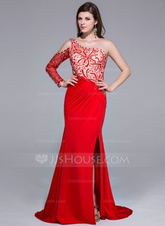 Trumpet/Mermaid One-Shoulder Sweep Train Beading Split Front Zipper Up at Side Sleeves Long Sleeves No Red Spring Fall General Charmeuse Jersey Prom Dress