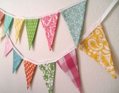 Spring Fabric Pennant Banner Garland Easter by TheOldPinkPorch, $27.00 - i have this one on my mantle right now! SO cute.