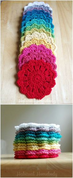 I have rounded up some of the best and interesting free crochet coaster patterns for your home!Rainbow #Crochet #Coasters