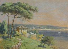 Ali Rıza HOCA - Sanatçı Detayı - Turkish Paintings Istanbul, Illustrations, Nature Paintings, Old Art, Gravure, Old Houses, Watercolor, Landscape, Poster