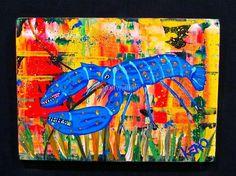 BLUE LOBSTER~FiSH~wood painting Maine Abstract FOLK ART Outsider~COASTWALKER   eBay