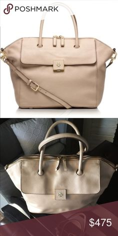 TORY BUTCH CLARA SATCHEL 💕💕💖LARGE Tory Burch Clara Satchel Large with strap!! In Almond- light tan&brown. In EXCELLENT CONDITION INSIDE AND OUT!!THIS TB is one of my very favorites I might not see/trade I really wanted to share it. It's so large you could fit a laptop wallet phone make-up bag and STILL have room. The creamy color is AMAZING. More pictures soon.. Tory Burch Bags Satchels