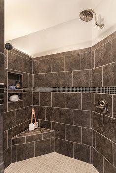Greatest  Ever! Walk-in shower with no door, 2 shower heads, built-in shampoo niche and corner bench seat