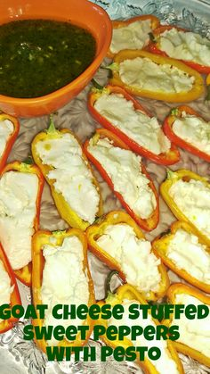 Goat Cheese Stuffed Sweet Peppers with @delallofoods Basil Pesto  ||  Biscuits and Burlap @DeLallo Foods