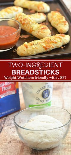 Two-Ingredient Breadsticks with two simple ingredients you probably already have in the kitchen! The versatile two-ingredient dough makes great pizza crust and is perfect for flatbreads, pretzel bites, calzones, and bagels. Weight watchers friendly with 2 Ww Recipes, Side Dish Recipes, Cooking Recipes, Healthy Recipes, Bread Recipes, Yogurt Recipes, Healthy Breakfasts, Healthy Dinners, Pizza Recipes