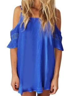 Shop Royal Blue Cut Out Cold Shoulder Lace Trumpet Sleeve Spaghetti Strap Dress from choies.com .Free shipping Worldwide.$13.9