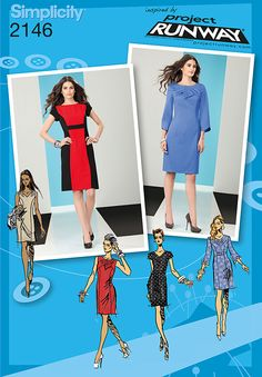 Simplicity 2146 Misses' & Miss Petite Dresses. Project Runway Collection  Misses' & Miss petite dress with sleeve and neckline variations sewing pattern, Project Runway Collection.