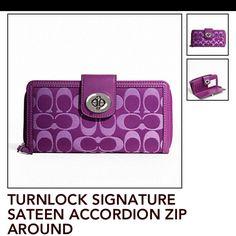 Coach wallet in purple: turnlock signature accordion zip-around. My favorite!