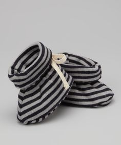 Take a look at this Sckoon Organics Navy Stripe Organic Booties on zulily today!