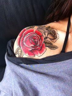 Shoulder rose tat-oh man, this in pink yessssssss!