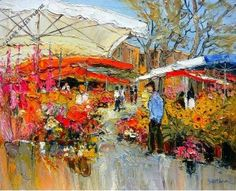 What a lovely flower market in Provence. Bon Weekend, Beautiful Paintings, Beautiful Scenery, Post Impressionism, Flower Market, Pictures To Paint, Landscape Art, Oeuvre D'art, Art Forms