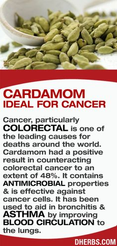 Cancer, particularly colorectal is one of the leading causes for deaths around the world. Cardamom had a positive result in counteracting colorectal cancer to an extent of 48%. It contains antimicrobial properties & is effective against cancer cells. Also it has been used to aid in bronchitis & asthma by improving blood circulation to the lungs. #dherbs #healthtips