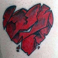 Broken Heart Tattoo Designs For Men - Split Ink Ideas - Man Style Cool Chest Tattoos, Chest Tattoos For Women, Tattoos For Guys, Future Tattoos, Tattoo Split, Pinup Art, Broken Heart Tattoo, Shattered Heart, Heart Tattoo Designs