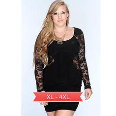f12956100ab Women s Plus Size Lace Back Bodycon Mini Dress