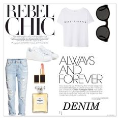 """""""Distressed Denim"""" by bb123456789 ❤ liked on Polyvore featuring Mykita, November, H&M, MANGO, adidas, Chanel, Tom Ford, women's clothing, women and female"""