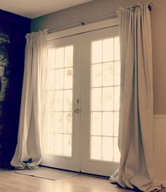 Drop cloth curtains - I think I like these with the ruffled look at the top MUCH better than just the rod pocket at the very top.