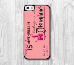 Disneyland Ticket iphone 5c case iphone 5c covers iphone case Pink case 5c Hard plastic 5c Soft rubber on Etsy, $6.99