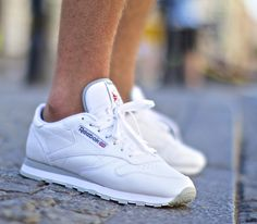 #Reebok Classic Leather - White / White #sneakers