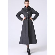 Long Wool Winter Coat Dark Gray Military Style Tailored Coat (1063) ($189) ❤ liked on Polyvore featuring outerwear, coats, black, women's clothing, oversized collar coat, long sleeve coat, long coat, military coat and military fashion