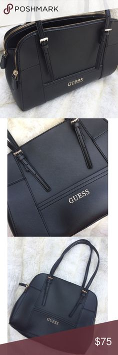 Guess Black Huntley Cali Medium Satchel Purse Guess designer brand. Like new condition no noticeable flaws. Faux black leather, sleek professional look. Lots of space and compartments for organizing your stuff! Double zipper with middle compartment with several organizers. Sand colored lining on the inside easier to find things in your bag than a black lining. Sold online at Macy's for $88, purchased for $118 before it went on sale. Product dimensions 12.6 x 5.1 x 9.1 inches FREE SURPRISE…
